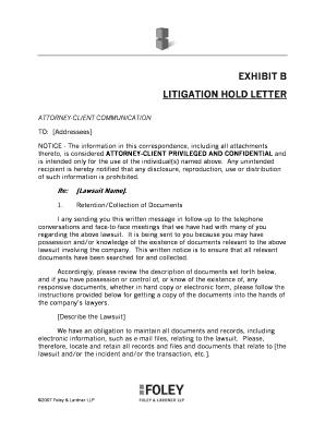 Litigation Hold Letter Sample.Fillable Online Exhibit B Litigation Hold Letter Foley