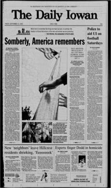 Daily Iowan (Iowa City, Iowa), 2003-09-12. Student newspaper of the University of Iowa, Iowa City, IA. Part of the Daily Iowan Historic Newspapers Collection.