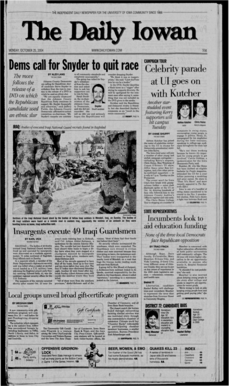 Daily Iowan (Iowa City, Iowa), 2004-10-25. Student newspaper of the University of Iowa, Iowa City, IA. Part of the Daily Iowan Historic Newspapers Collection.