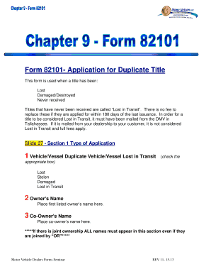 Fillable Online Form 82101 Application For Duplicate Title Fax