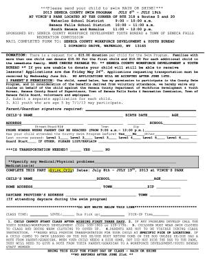 Fillable Online Co Seneca Ny 2013 Swim Registration Form Seneca County Co Seneca Ny Fax