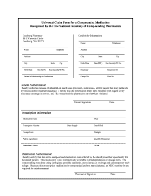 Universal Claim Form For A Compounded Medication - Fill Online ...