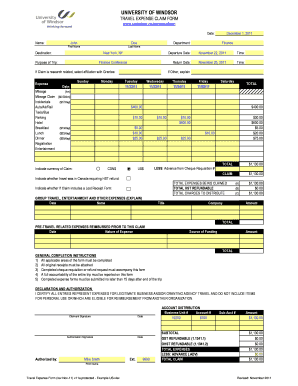 12 Printable Travel Expense Form Templates Fillable Samples In Pdf Word To Download Pdffiller