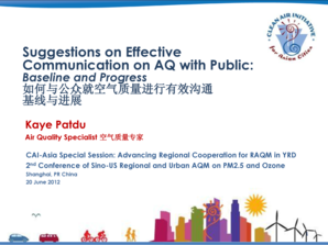 Suggestions on Effective Communication on AQ ... - Clean Air Initiative