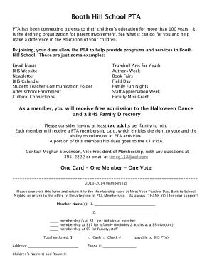 PTA Membership Form 2013-2014 - Trumbull Public Schools Fill