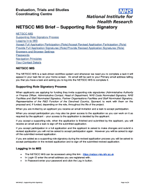 Fillable Online nets nihr ac NETSCC MIS Brief Supporting
