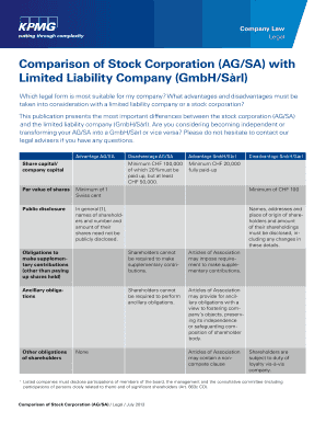 Comparison Of Stock Corporation AGSA With Limited Liability - Corporation legal form
