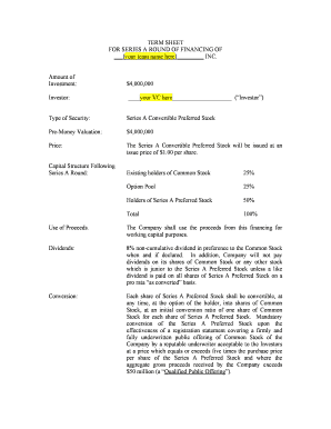 Venture capital term sheet forms and templates fillable for Venture capital term sheet template