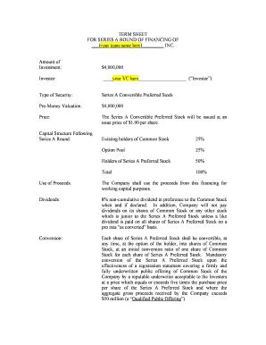 venture capital term sheet template - venture capital term sheet forms and templates fillable