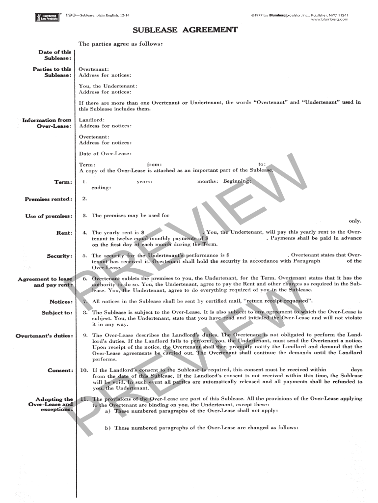 Sublease Agreement Nyc Fill Online Printable Fillable