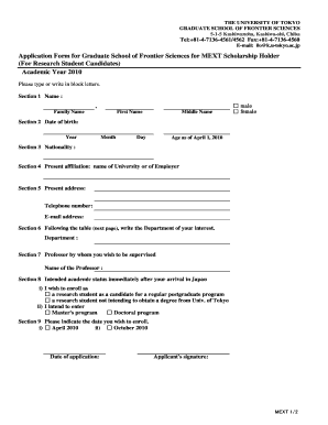 Fillable Online k u-tokyo ac Application Form for Graduate of ... on application in spanish, application trial, application to rent california, application meaning in science, application submitted, application for rental, application insights, application database diagram, application service provider, application approved, application template, application for employment, application to join motorcycle club, application error, application cartoon, application to date my son, application to join a club, application for scholarship sample, application to be my boyfriend, application clip art,