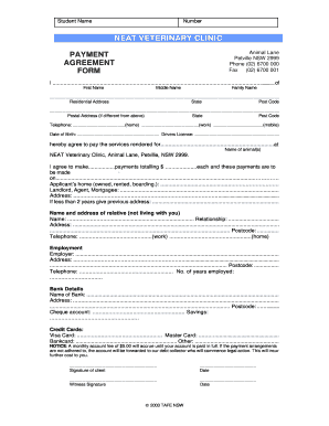 Fillable Online NEAT VETERINARY CLINIC PAYMENT AGREEMENT FORM Fax ...