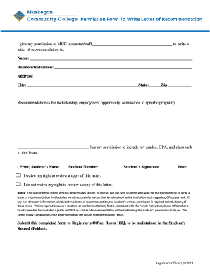 Permission Form To Write Letter of Recommendation - muskegoncc