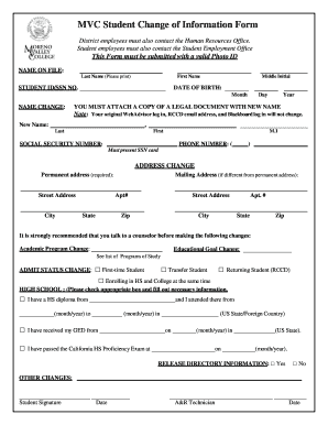 Fillable Online mvc MVC Student Change of Information Form Fax ...