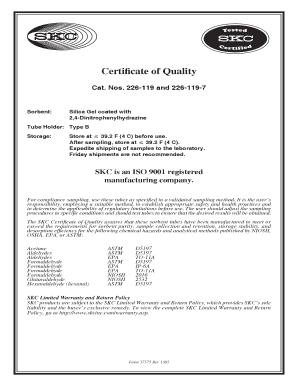 Sorbent Sample Tubes 226-119 and 226-119-7 Certificate of Quality_Operating Instruction Form 37575 PDF Document. Sorbent Sample Tubes 226-119 and 226-119-7 Certificate of Quality_Operating Instruction Form 37575 PDF Document