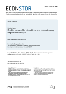 eu Der OpenAccessPublikationsserver der ZBW LeibnizInformationszentrum Wirtschaft The Open Access Publication Server of the ZBW Leibniz Information Centre for Economics Abrar, Suleiman Working Paper Duality, choice of functional form and