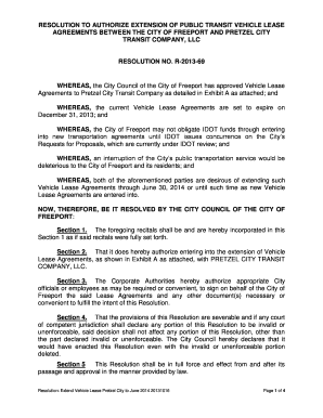 RESOLUTION TO AUTHORIZE EXTENSION OF PUBLIC TRANSIT VEHICLE LEASE - cityoffreeport