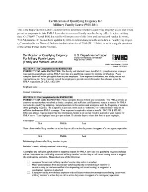 Certification of Qualifying Exigency for Military Family Leave WH-384