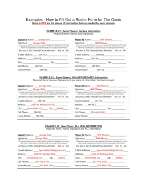 Examples - How to Fill Out a Roster Form for The Oasis - Sports Oasis