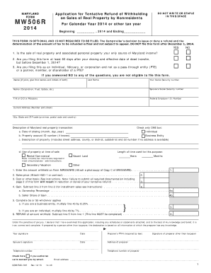 MARYLAND FORM MW506R For Calendar Year 2014 or other tax year ...