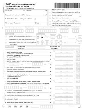 APLE 2013 Virginia Resident Form 760 Individual Income Tax Return