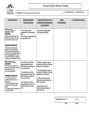fillable online siskiyous focused program review template program
