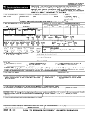 Fillable Online VA Form 40-1330, CLAIM FOR STANDARD GOVERNMENT ...