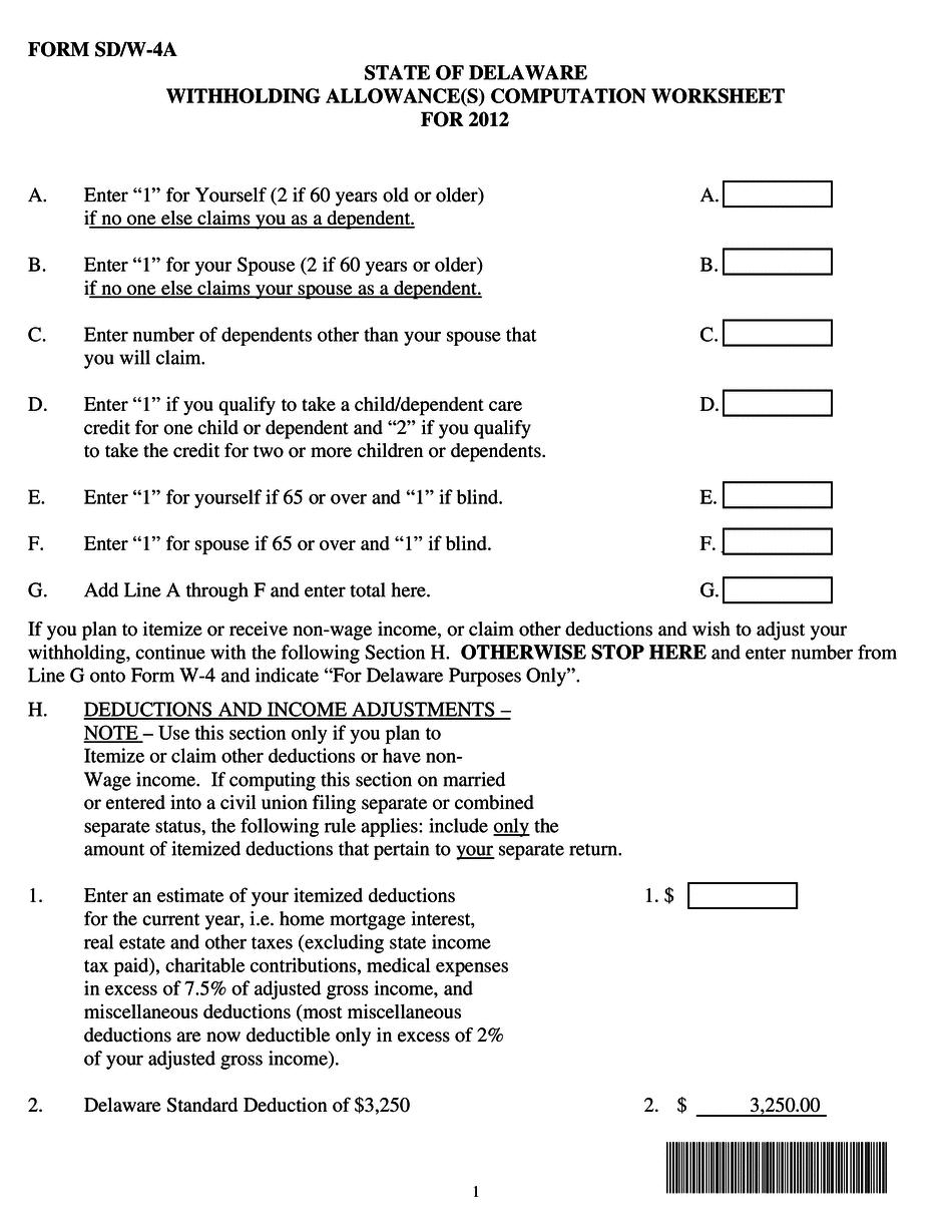 Delaware Form SD/W-4A