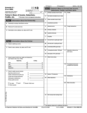 Fillable Online 2013 Form 8865 (Schedule K-1). Partner's Share of ...