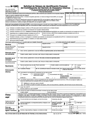 Fillable Online Form W-7 (SP) (Rev. January 2012). Application for ...