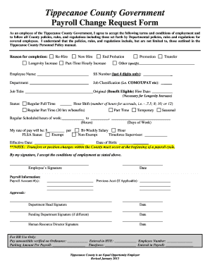 Tippecanoe County Government Payroll Change Request Form - tippecanoe in