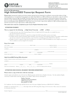 Fillable Online kucampus kaplan High School/GED Transcript Request ...