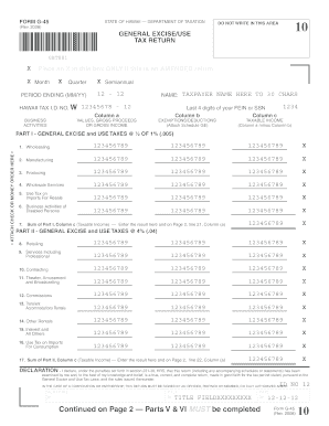 Example Of A Completed General Excise Tax Form G45 - Fill Online ...