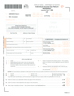 Fillable Online Form N-11, State of Hawaii Resident Income Tax ...