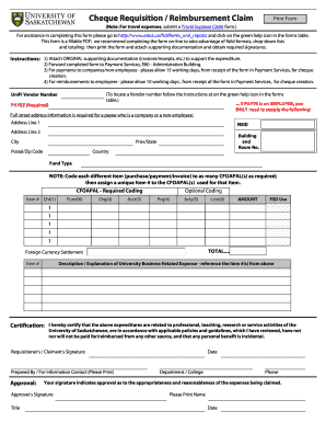 Fillable Online Cheque requisition / claim form - Give To