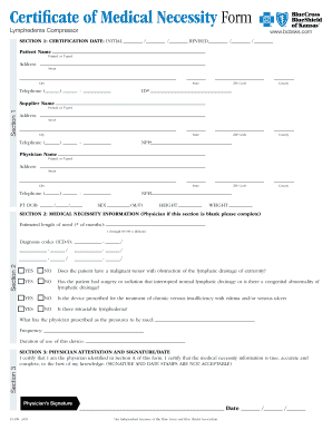 Fillable Online Certificate of Medical Necessity Form - Blue Cross ...