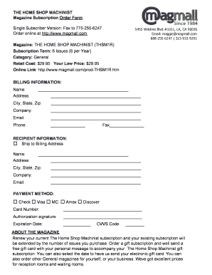 Magazine Subscription Form - Fill Online, Printable, Fillable, Blank