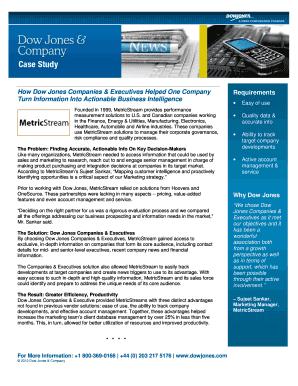 Fillable Online Dow Jones & Company - MetricStream Case
