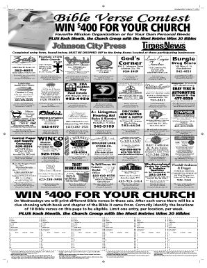 Wednesday, October 9, 2013 Page 4A, Johnson City Press Bible Verse Contest $ WIN 400 FOR YOUR CHURCH Favorite Mission Organization or for Your Own Personal Needs PLUS Each Month, the Church Group with the Most Entries Wins 20 Bibles