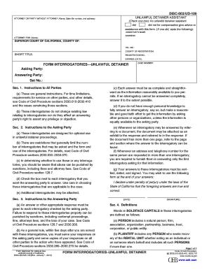 Fillable Online DISC-00/UD-106 Form Interrogatories - Unlawful ...