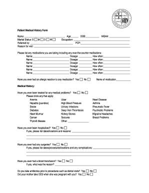 Fillable Online www2 massgeneral Patient Medical History Form ...