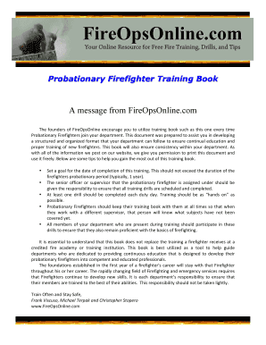 Fillable Online Probationary Firefighter Training Manual