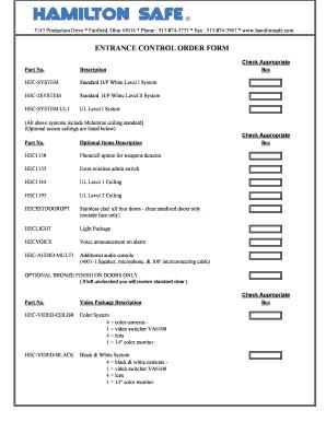 fillable online entrance control order form hamilton safe fax