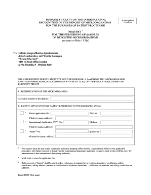 Form BP/12 Request For The Furnishing Of Samples Of Deposited .