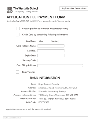 Application Fee Payment Form APPLICATION FEE PAYMENT FORM