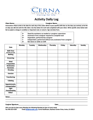 Daily Task List Template. Activity Daily Log   Bcernahomecarebbcomb  Daily Task Log Template