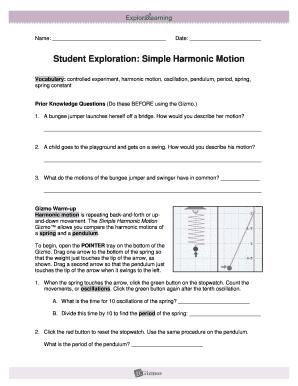 Student Exploration Simple Harmonic Motion