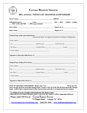 BILL of SALE NOTICE OF TRANSFER of OWNERSHIP