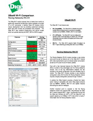Comparison Template Word. XBee Wi Fi Comparison  Comparison Template Word