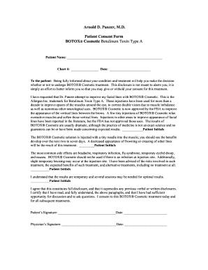 Fillable Online Arnold D Panzer MD Patient Consent Form BOTOX ...